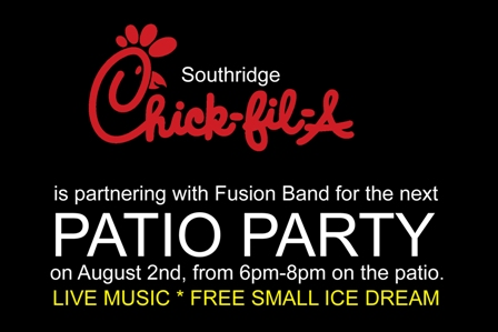 Chick-fil-A patio party with Fusion Band