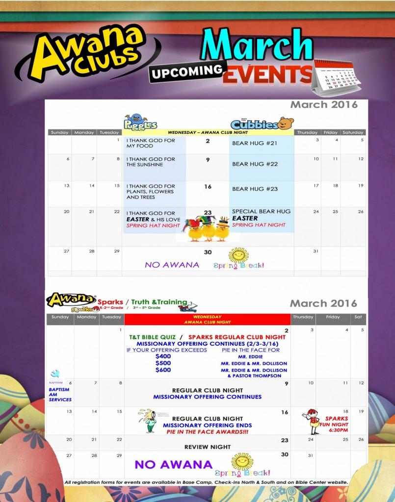 16 AWANA Calendar march