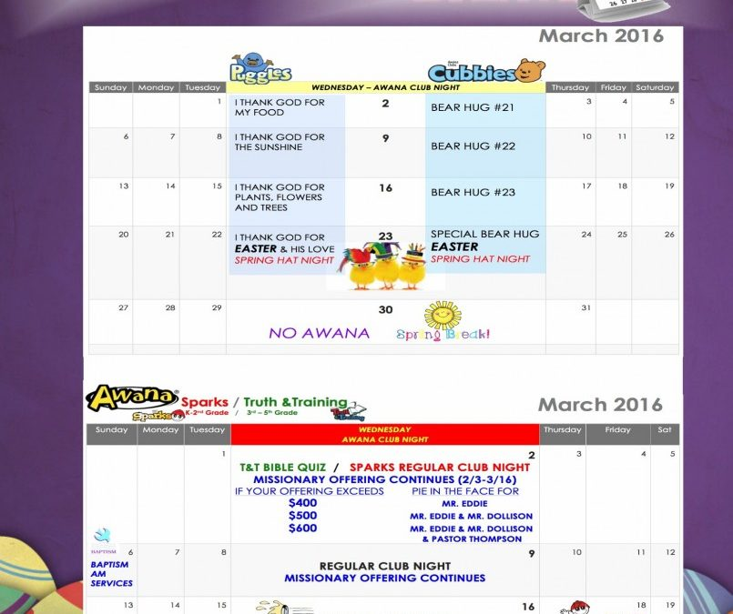 March 2016 AWANA Calendar