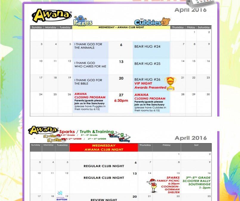 April 2016 AWANA Calendar